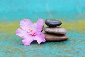 fleur rose galet zen bleu méditation calme paix détente carpe diem soin énergétique