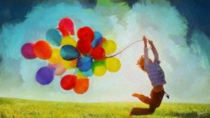 ballons joie saut détente rires