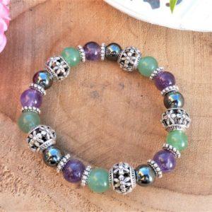 bracelet améthyste, aventurine et hématite pour Femme
