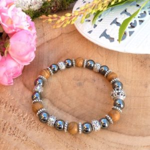 bracelet bois fossile et hématite femme