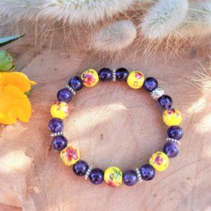bracelet femme sérénité améthyste céramique