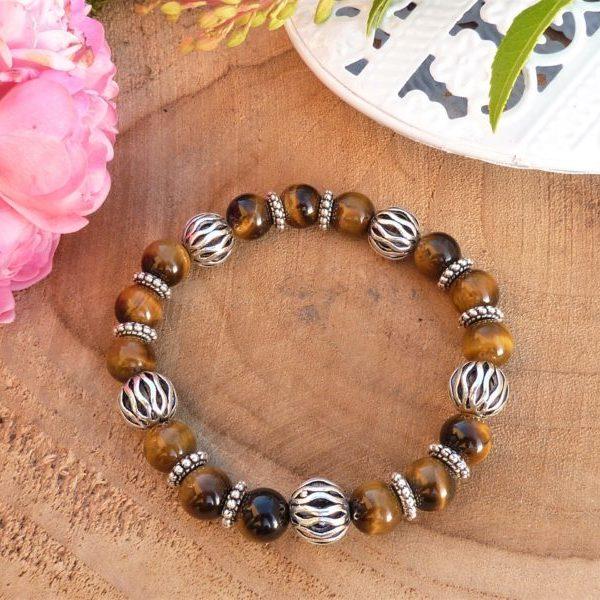 bracelet protection œil de tigre pour Femme fait main
