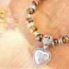 bracelet œil de tigre femme avec bélière cœur