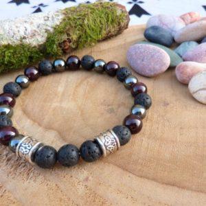bracelet homme celtique énergie grenat hématite lave triskell
