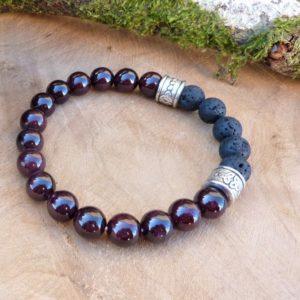 bracelet homme celtique énergie grenat lave triskell