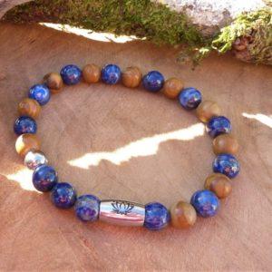 bracelet homme lapis lazuli bois fossile et lotus communication