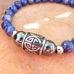 bracelet homme lapis lazuli hématite et perle longévité acier