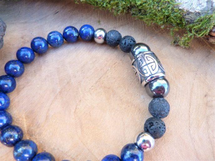 bracelet homme sérénité communication lapis lazuli hématite et perle longévité acier
