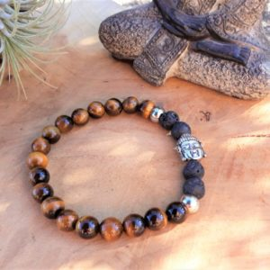 bracelet homme œil de tigre lave bouddha protection