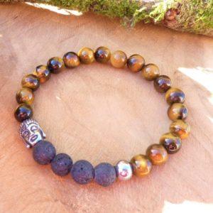 bracelet homme œil de tigre lave tibétain protection énergie