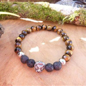 bracelet homme protection œil tigre lave lion