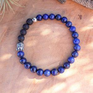 bracelet homme sérénité communication lapis lazuli lave bouddha