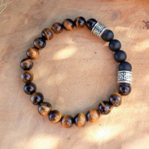 bracelet homme tigre agate noire triskell
