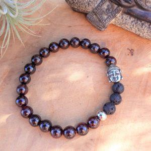 bracelet homme tibétain grenat