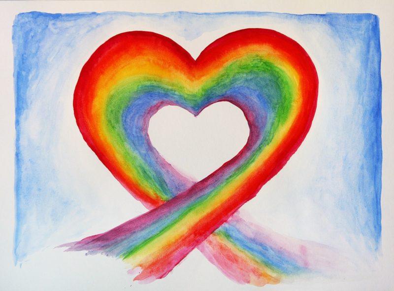 cœur arc en ciel amour respect pardon soin énergétique chakra