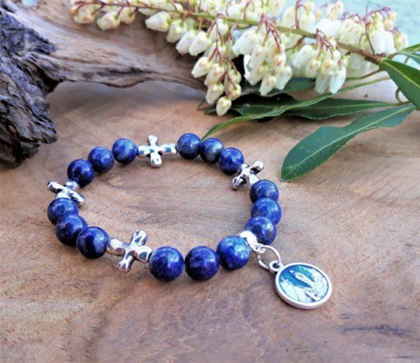 bracelet a femme lapis lazuli et médaille sainte vierge