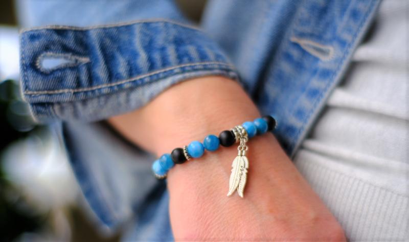 bracelet femme apatite agate noire