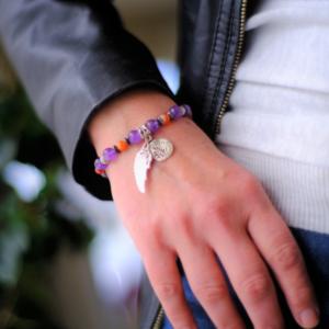 bracelet cornaline hématite aile ange arbre de vie