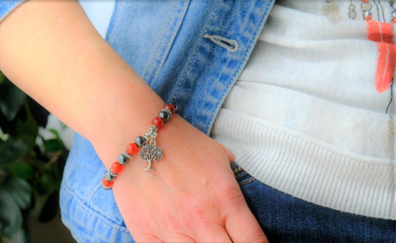 bracelet cornaline hématite arbre de vie