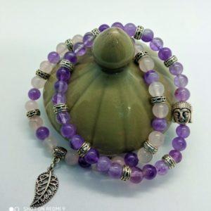 bracelet améthyste quartz rose femme bouddha feuille