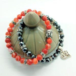 bracelets duo cornaline hématite tibétain bouddha cœur
