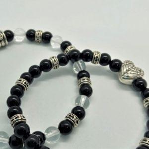 duo bracelets agate noire et cristal de roche aile coeur protection énergie spiritualité1