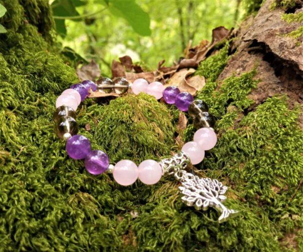 bracelet femme améthyste quartz rose quartz fumé breloque arbre de vie