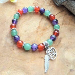 bracelet 3 pierres améthyste cornaline aventurine lotus plume