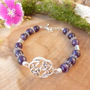 bracelet femme améthyste nœud celtique